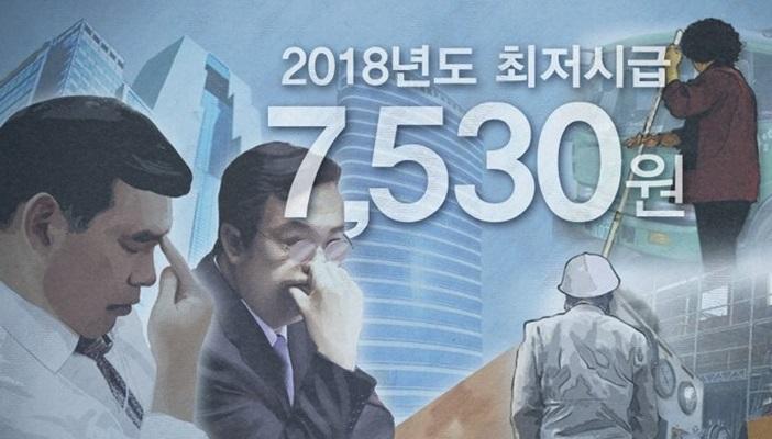 2018년 최저임금 7530원 '적정하다' 의견 55%