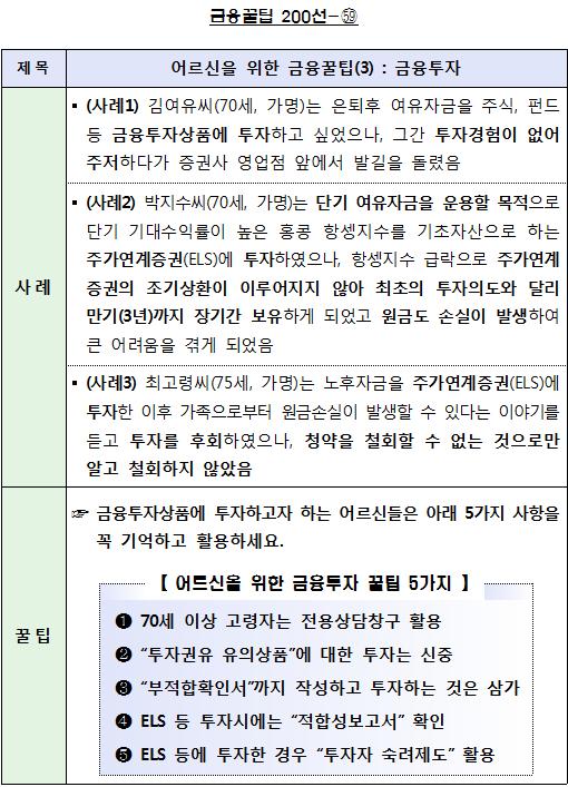 """<붙임> 금융꿀팁 200선- (59) 어르신을 위한 금융꿀팁(3) : 금융투자. """""""