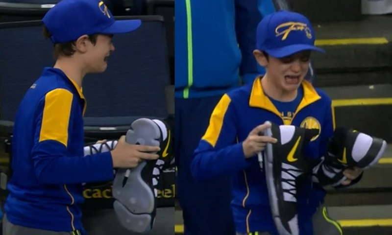 NBA 농구 스타 운동화 받고 오열하는 꼬마 (영상)