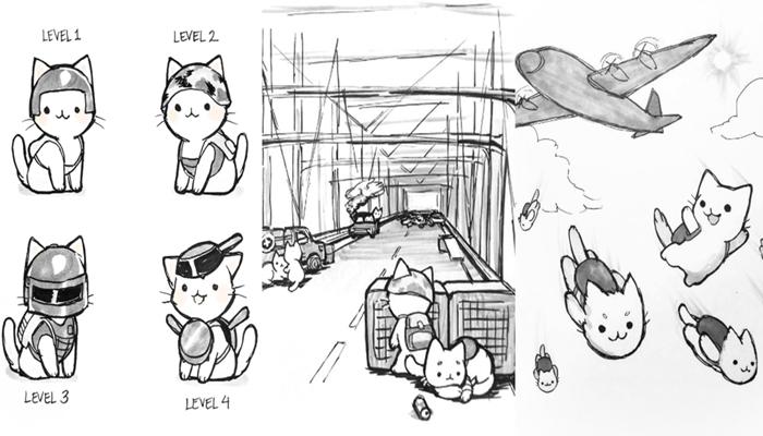 """""""핵귀여움!"""" 고양이 캐릭터로 그린 배틀그라운드"""