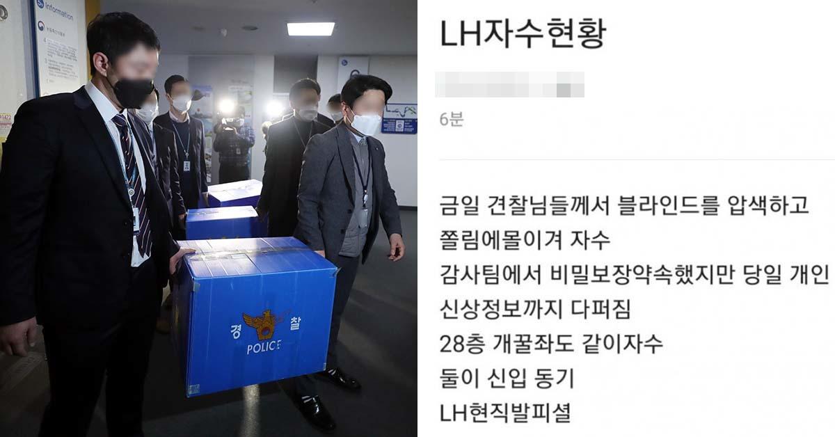 """""""막히면 입사 가능""""이라는 글을 올린 LH 직원이 항복했다는 소문이 퍼지고있다."""