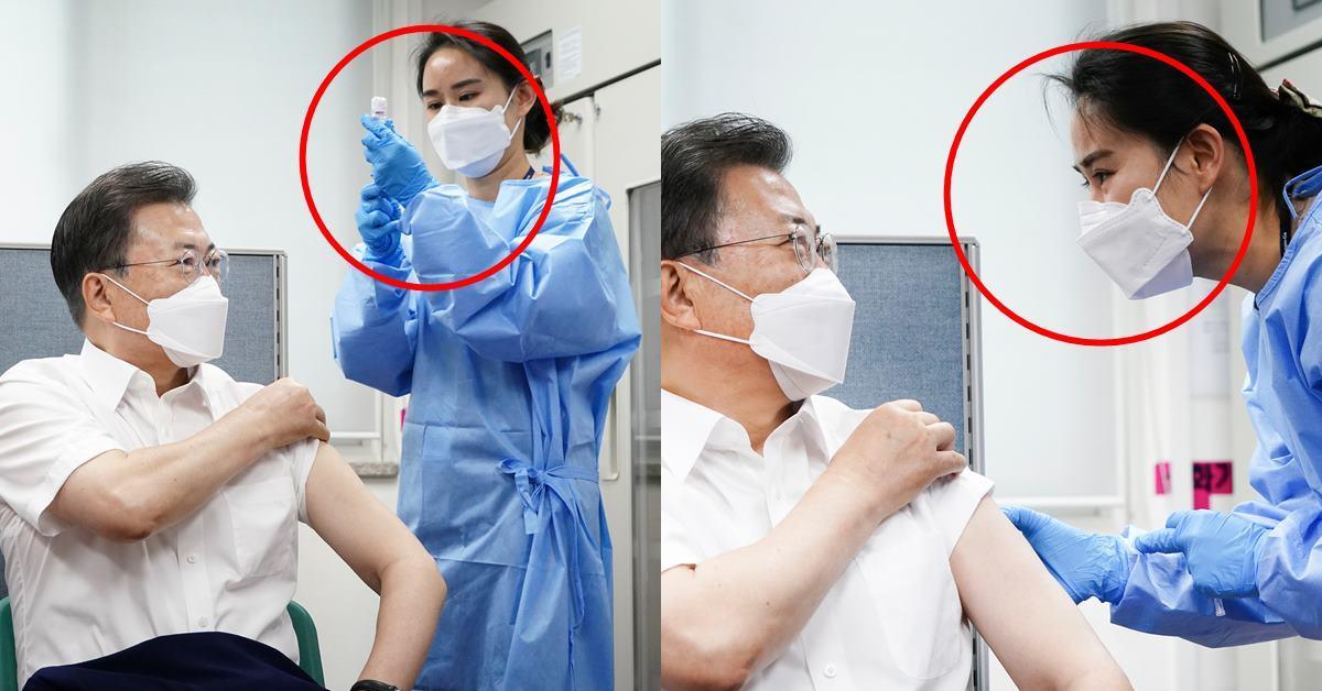 문 대통령을 예방 접종 한 간호사, 안타까운 상황이 전해졌다.